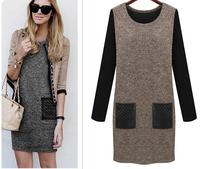 women autumn winter knitting sweater plus size m-6xl o-neck patchwork contrast pocket design casual gray coffee dress