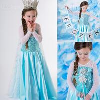 2014 frozen movie anime cosplay elsa queen girls costume christmas party carnival gift halloween dresses children Crown