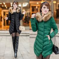 2014 women's cotton-padded jacket women's medium-long down wadded jacket slim women's