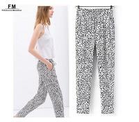 Leopard Print Animal Print Women Harem Pants & Capris Viscose Soft Handfeel European Fashion High Waist Pencil Trousers SS14P006