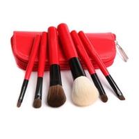New Professional 6PCS Cosmetics Makeup Brushes Powder Foundation Eyeshadow Eyeliner Brush Set with Red Zipper Bag Make Up Tools
