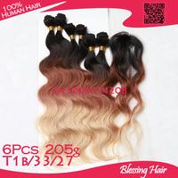 T1b/33/27,3 color ombre three tone Brazilian virgin hair body wave,100% virgin human hair weaves wavy 6 bundles+gift closure