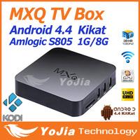 1pc Original MXQ Amlogic S805 Quad Core XBMC TV Box Android 4.4 OS H.265 Supporting Wifi LAN Miracast Airplay HDMI 1G RAM 8G ROM