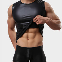Shino male faux leather vest top tight vest sexy costume