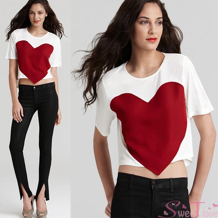 Senhoras novas do verão camisa coração moda grande Red coração o Romance de impressão camisetas mulheres curto T-Shirt Plus Size Blusas Femininas SL784(China (Mainland))