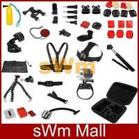 Go pro sj4000 Camera Full Set Accessories Selfie monopod tripod pole mount Head Hand Chest Strap Bag for gopro hero3 2 1 3+black