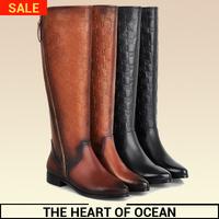 Fashion Genuine Leather Women Long Boot Vintage Plaid Printing New Brand Botas Feminine Knee High Boot Shose S077