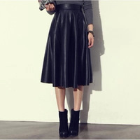 Vintage high waist PU leather skirts for women pleated