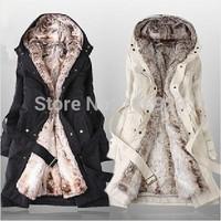 2013 Faux fur lining women's winter  Hoodies Ladies coats warm long fur coat jacket cotton clothes thermal parkas Free Shipping