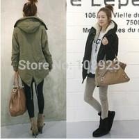 Plus M L XL Free Shipping Korean Women Long Sleeve Thicken Fleece Hooded Parka Lady Winter Coat Jacket Outwear Green Black 506