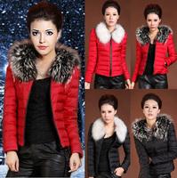 2014New Arrival Eiderdown Outerwear Long-Sleeved Lady Warm Fur Collars Eiderdown Cotton Coat High Quality Women's Coat Plus Size