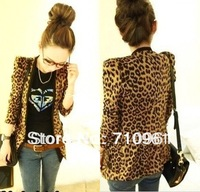 Free shiping 2014 S M L XL Spring Autumn winter Women Leopard Jacket Slim Fit One Button Blazer With Shoulder Pad Suede Outwear