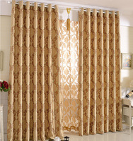 Quality Fashion Sided Jacquard Luxury Curtain for Living Room /bedding room/ hotel Tulle+Blackout curtain 150*250cm Golden Brown