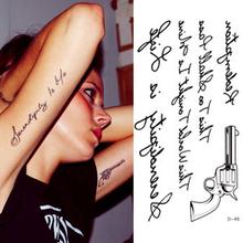 Hot Sale Temporary Tattoo Stickers Temporary Body Art Supermodel Stencil Designs Waterproof Letters Gun Tattoo Pattern HG-061522(China (Mainland))