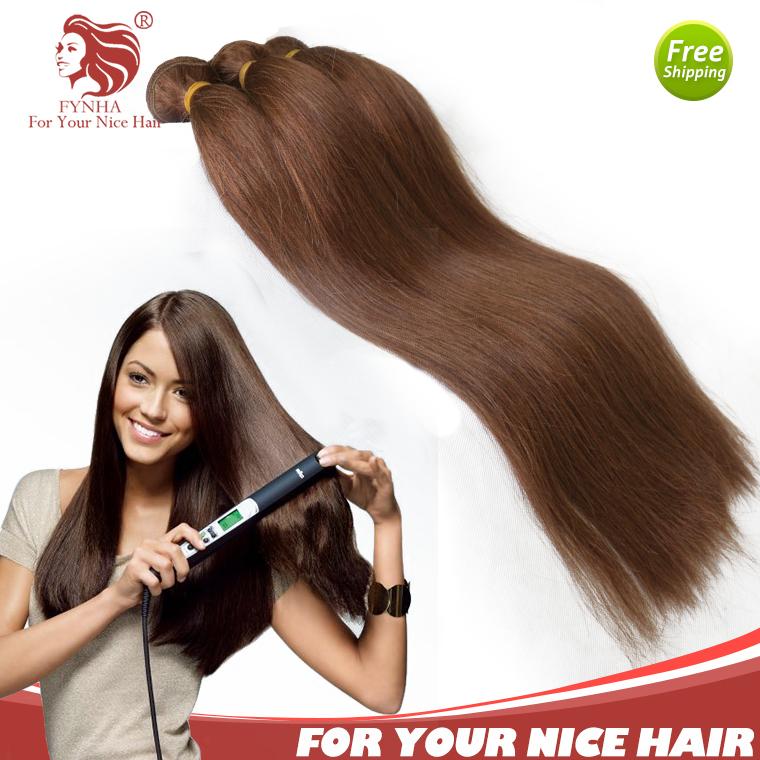 3pcs/lot 12-24inch European remy human hair extension 4# grade 6a straight cheap human hair remy hair bundles free shipping(China (Mainland))