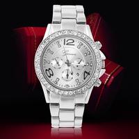 2014 Women Casual Watch Analog Ladies Quartz Watches Geneva Rhinestone Watches Crystal Hours Steel Case