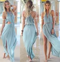 Summer beach Deep V-neck backless camisole boho side split chiffon dress free shipping