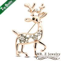 Fashion Deer Christmas Brooch Pins Animal Crystal Brooches 10pcs/lot Free Shipping