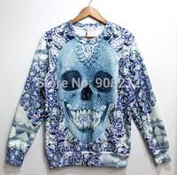 HOT! 3D Mall Winter Thicken suit Women/men skull Print Pullover Sweater Long Sleeves Animal skull Sweatshirts galaxy Fleece tops