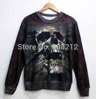 3D Mall Winter Thicken suit Men skull Print Pullover Sweater Long Sleeves Animal skull Sweatshirt galaxy Fleece tops black