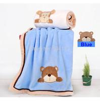 New 2014 kids blanket --2pcs/lot  80*100CM Microfiber Baby coral fleece Blanket & Swaddling Children Bedding Set Maomaoyu Brand