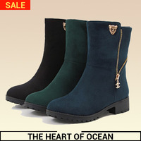 Fashion Korean feminine Mid-calf Boot Genuine Leather Zipper Leopard Sequined Boot Winter Women Shose Brand Botas S082