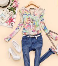 2014 v- pescoço nova primavera chiffon mulheres blusas blusas florais impresso camisas mulheres roupas Femininas CS9145(China (Mainland))