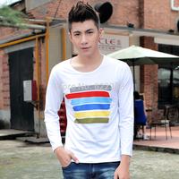 2014 Autumn New fashion high quality Men's printing shirt Casual shirt Basic V-neck shirt Knitwear clothing Free Shipping