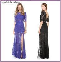 New 2014 Lormal Long Lace Evening Dress Hot&Sexy Women Lace Backless dress Vestidos de Fiesta Gowns dress Party Evening Elegant