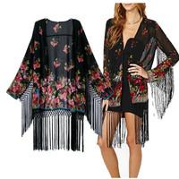 2014 new fashion Europe women elegant vintage flower printed jacket coats long sleeve casual kimono outerwear