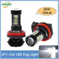 2014 New 2Pcs 80W H11 OSRAM LED Brake Light Front Turn Signal Lamp White Fog Bulbs Daylight H16 9005/9006