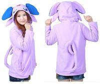 Purple Umbreon Fleece Anime Animal Unisex Adult Cosplay Hooded Hoodies Sweatshirt Jacket with Ears Tails Cardigan