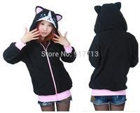 Cute Black Cat Animal Hoody Hoodie with Ears Unisex Winter Warm Fleece Thick Coat Jacket,S M L XL All Size