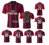 New season 2014/2015 AC Milan home fans version Soccer Jersey,14/15 BALOTELLI HONDA EL SHAARAWY MONTOLIVO KAKA futbol shirt