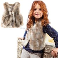 Limit Hot sale 2015 spring new fashion baby girl faux fur vest waistcoat brand girl coat fur outerwear children vest for 2-3 yrs