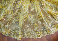 5 Yards shining french net lace African dry lace fabric with gold metallic lurex lots of sequins 9025 Gold