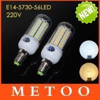 Ultra bright 5730 56SMD E14 220V Corn Bulbs Led lamps Spotlights Max 18W Energy Efficient lights lighting 1Pcs/Lot