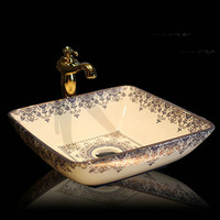 Handmade Europe Vintage Style Lavobo Ceramic Bathroom Countertop Sink