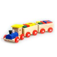 Three small wooden train shape three early childhood educational DIY toys children's intelligence