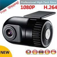 Car DVR  Camera parking Cam recorder G-sensor 1920*1080P D168 HD Smallest 140 high definition wide-angle lens 12V Free Shipping!