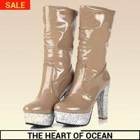Fashion Korean feminine Boot PU Mid-calf Boot Winter Women Shose Fox Hair Gllitter New Brand Botas S093