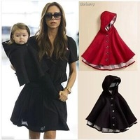 2-10Y  Baby cloak coat jacket brand coats and jackets for children balck and red cloak girl england style baby cloak two-sided