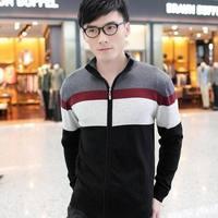 2014 New fashion high quality Men'smandarin collar Casual shirt Basic V-neck cotton sweater Knitwear clothing Free Shipping