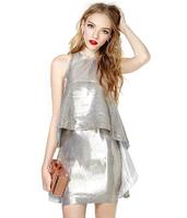2014 Newest Shining Silver Evening Dress Ruffles Decoration Beautiful Sleeveless O-Neck Sexy Dress Dropshipping High Quality