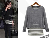 fashion women zara2014 Autumn&Winter Women Shirts Long Sleeve O-Neck Blouses False two-piece Striped T shirt