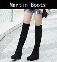 New 2014 Women Winter High Heel Boots Platform Wedges Flock Long Boots Botas Stretch Nubuck Leather Black Brown Two Ways