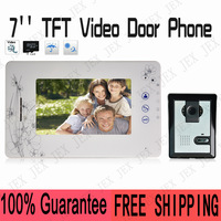 High Quality 7 inch Video door phone Intercom Take Picture Record Doorbell System Kit IR Camera doorphone free shipping