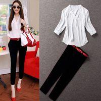 (LST003) Women's Pants Set Summer Women's Fashionable Casual Small Shirt Chiffon Trousers Women set