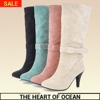 Fashion Women Mid-calf Boot High Heel Patchwork Feminine Boot Buckle Fold Winter Botas Solid Rubber Sole Shose S110