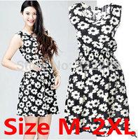 Women dress 2014 European and American women's new large size chiffon dress sleeveless vest variety of small fresh floral dress